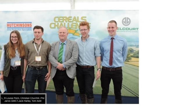 Newcastle University win the Environmental Challenge in the 2019 Cereals Challenge: from left, Louise Penn, Christian Churchill, Phil Jarvis GWCT, Jack Harley and Tom Astill
