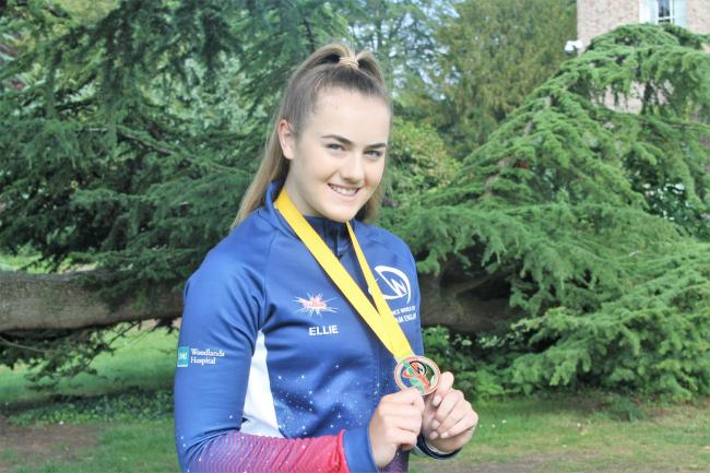 Ellie Bancroft with her gold medal from the Dance World Cup. Picture: Peter Barron