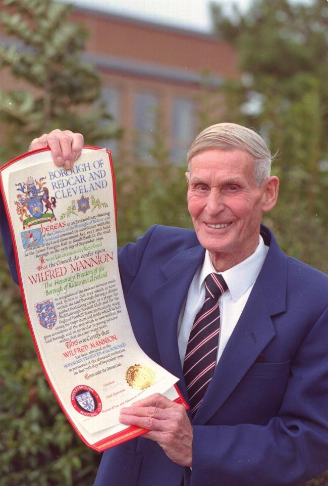 Wilf Mannion pictured upon award of Freedom of the Borough of Redcar & Cleveland							        Picture: EVENING GAZETTE