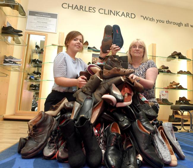 The Clinkard Shoe Mountain..Shoes that are being collected by Clinkards to give to the homeless.