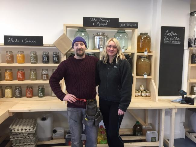 Adam Carroll and Mary Elizabeth Webb in their shop, The Only Weigh Out in Stokesley