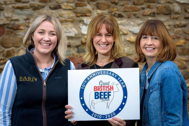 l-r) Laura Ratcliffe, RABI regional manager for South Central; Minette Batters and Jilly Greed, co-founders of Ladies in Beef