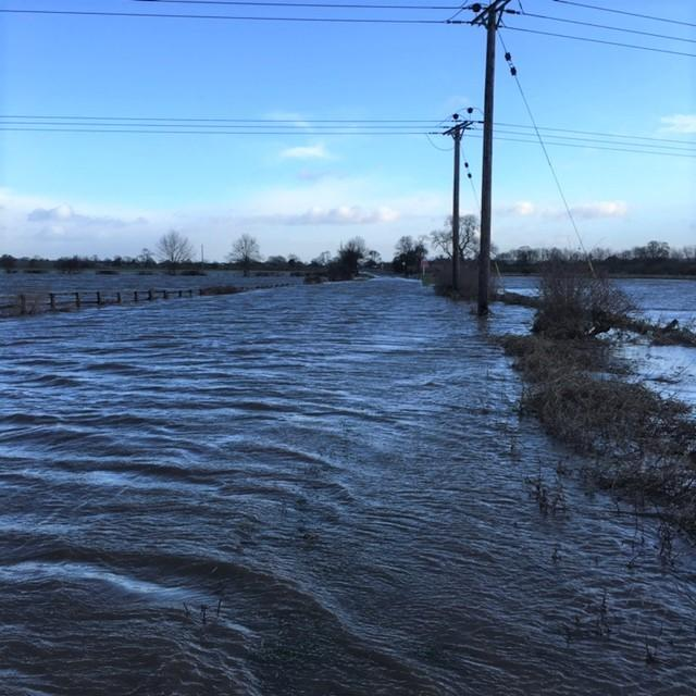 Floods at Morton on Swale bridge which closed the A684