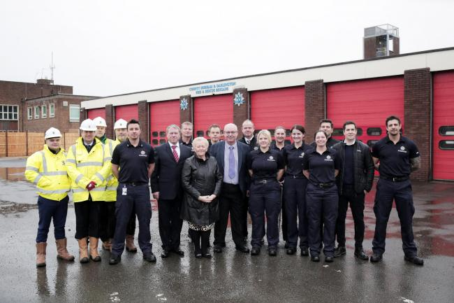 Cllr John Robinson, Cllr Audrey Laing, Estates Manager John Hancock, Head of Corporate Resources Keith Lazzari, Architect David Hardcastle, Jeremy Marley, Jason Harrison, Paul Neasham and Dylan Barker of Tolent, Darlington District Manager Dave Glendennin