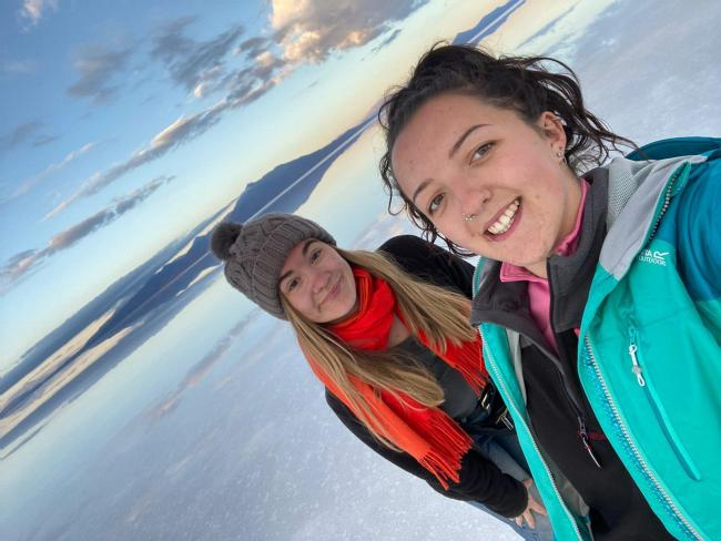 Tess Bettison, left and her friend Stevie Chandler are struggling to get out of Peru