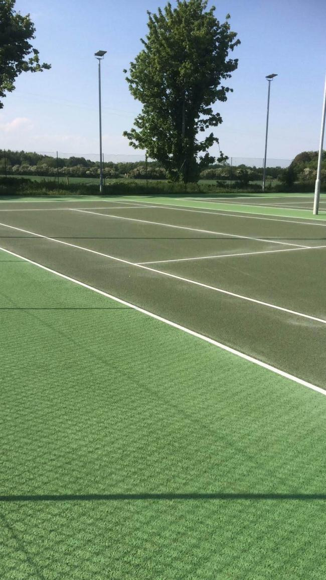 The newly painted court at Bedale