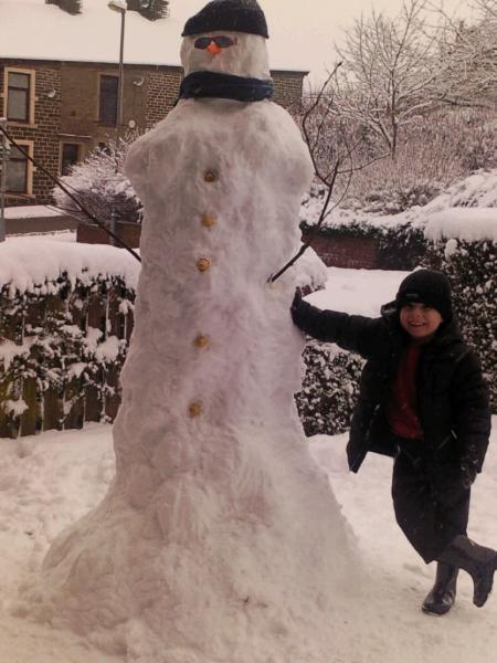 Secret agent: a snowman goes undercover in Lancashire