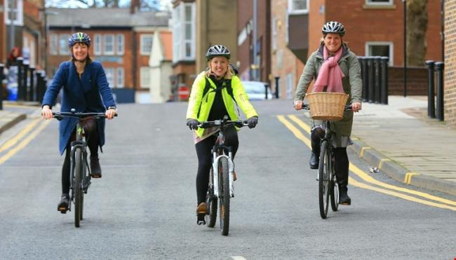 People cycling in Darlington town centre