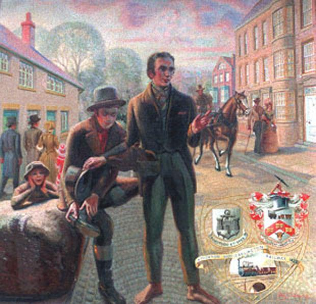 A fanciful drawing of George Stephenson and Nicholas Wood arriving at Bulmer's Stone in Northgate, Darlington on April 19, 1821