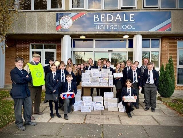 Bedale High School pupils welcomed Rotary Club members who thanked them for their Christmas shoebox contributions