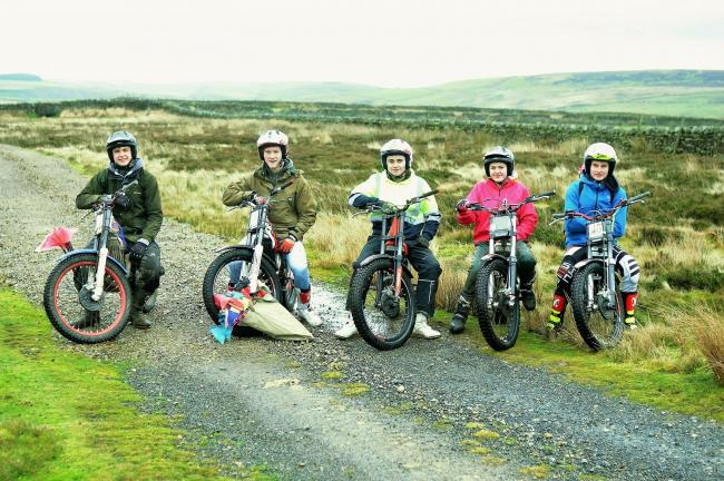Richmond Motor Club young trials riders take on the arduous task of plotting a moorland motorcycle trial course. From left, Thomas Coates (Arkengarthdale), Sam Lambert (Bradley), Robert Weatherall, (Finghall), Elizabeth Tett (Finghall) and Josh Brown (Bel