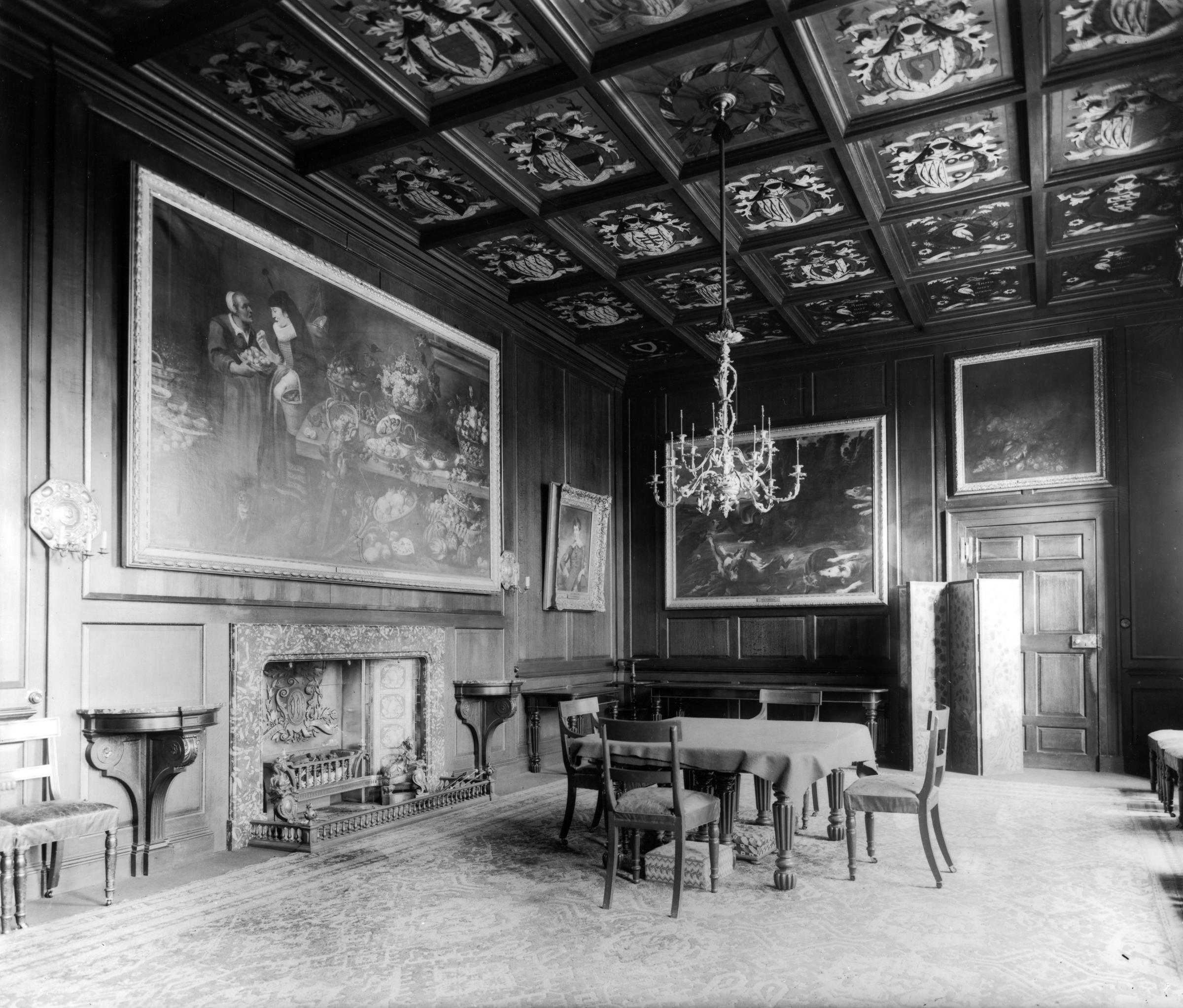 View of the dining room at Streatlam Castle with its armorial ceiling. The castle was built in 1718 by Sir William Bowes on the site of a 15th Century castle