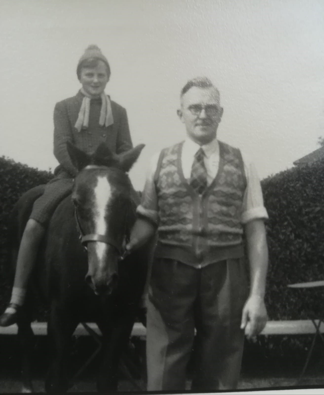 George Flear, the Lincolnshire butcher, and his daughter Frances on horseback in about 1957