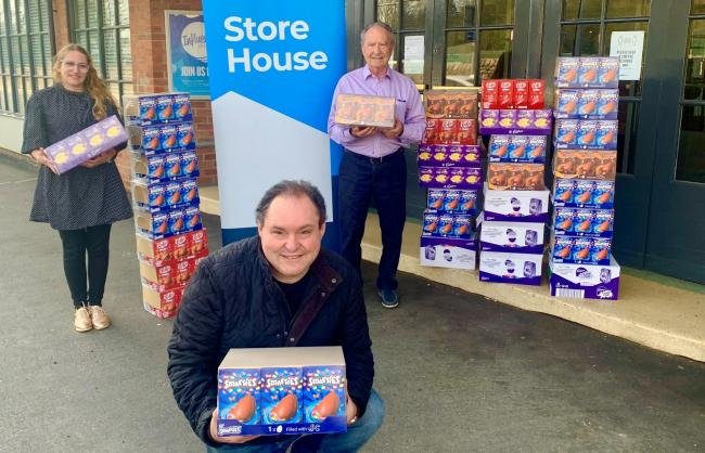 The Moss family helped the foodbank by donating 300 Easter eggs