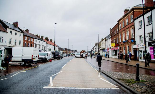 Northallerton High Street, closed off for social distancing on a wet market day Picture: SARAH CALDECOTT