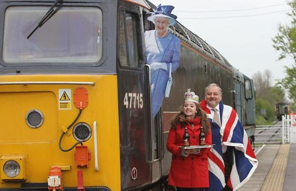 Hospice Homecare promotes its Jubilee Express: Victoria Hodgson, event organiser, and Nigel Park, Wensleydale Railway General Manager