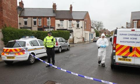 ATTACK SCENE: Police investigating the incident in Holmwood Grove, Darlington