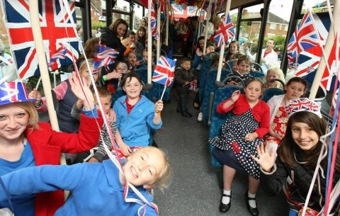 PARTY TIME: A street party in Acklam won a visit from an Arriva bus packed with flags and bunting