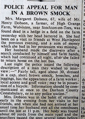 Darlington and Stockton Times: Newspaper report on the murder of Mrs Margaret Dobson in 1938.