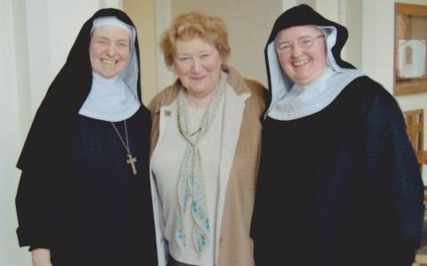 ABBEY BID: Patricia Routledge with former abbess Joanna Jamieson, left, and current abbess Dame Andrea Savage