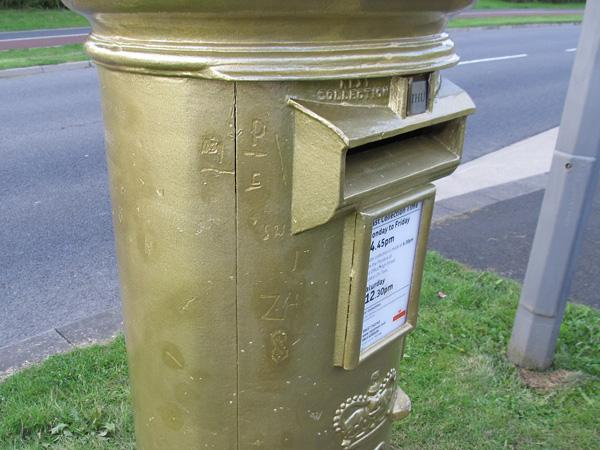 POSTAL HONOUR: The postbox painted gold to mark Kat Copeland's gold medal has been vandalised