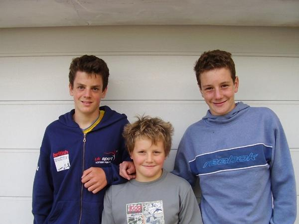 The Brownlee brothers after competing in the West Witton Fell Race in 2005