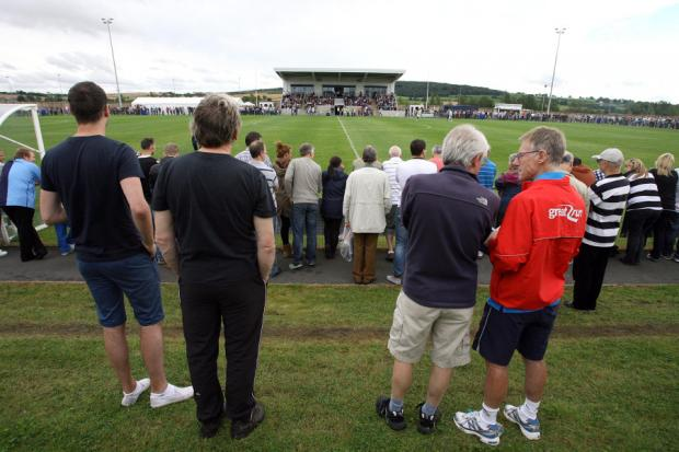 FULL HOUSE: Darlington and Bishop Auckland fans mingle as the sides meet in the Northern League