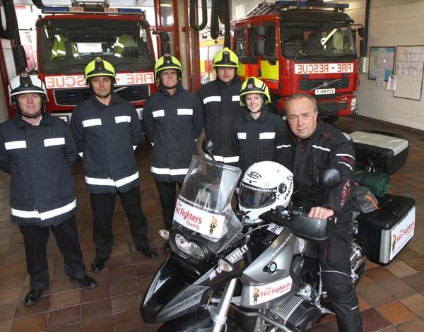 READY TO RIDE: Dave Prattley and members of Red Watch at Northallerton fire station