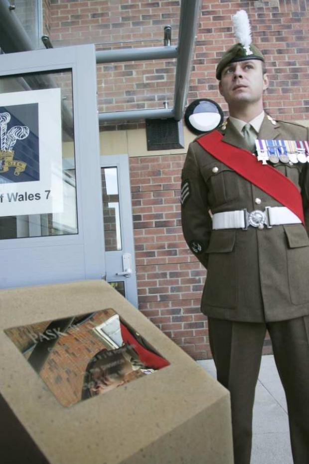 Colour Sergeant Pask outside the block named in his honour