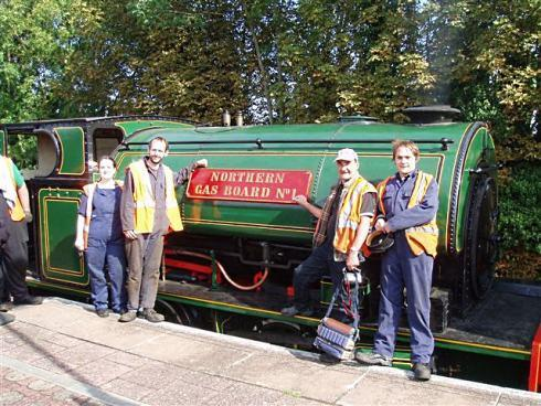 STEAM TEAM: Members of the Darlington Railway Preservation Society, from left, Kerry Bailey, Matt Greaves, Barrie Lamb and Paul Bailey