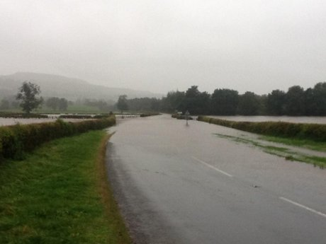 A684 closed at Wensley, in North Yorkshire.
