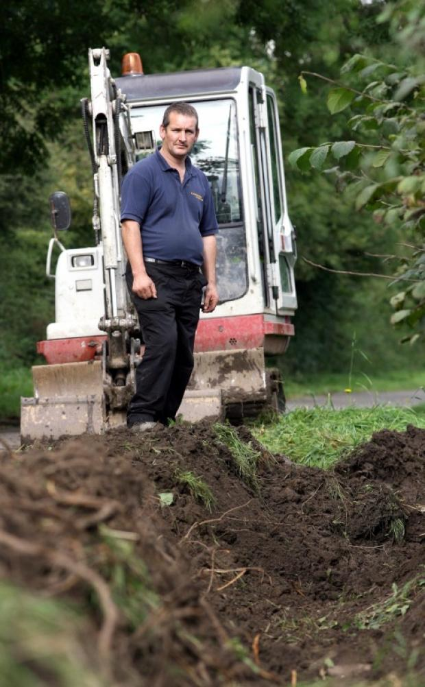 DIGGING IN: Jonathan Bradbrook with his digger