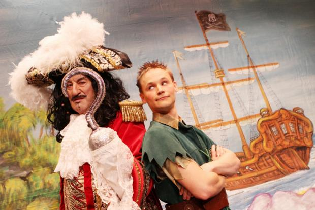 GETTING HOOKED ON PANTO: John Challis as Captain Hook and Jack Lane as Peter Pan