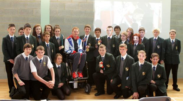 MAIN MAN: Paralypian Stephen Miller with PE students at Sedgefield Community College