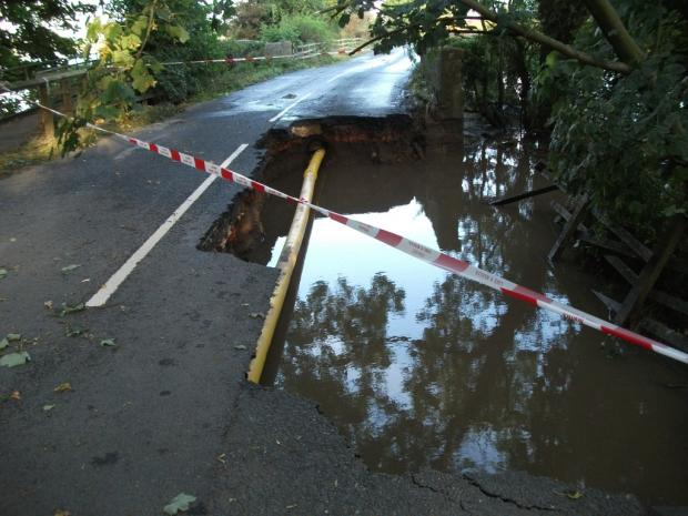 CLOSED: The road at Linton collapsed after heavy floods