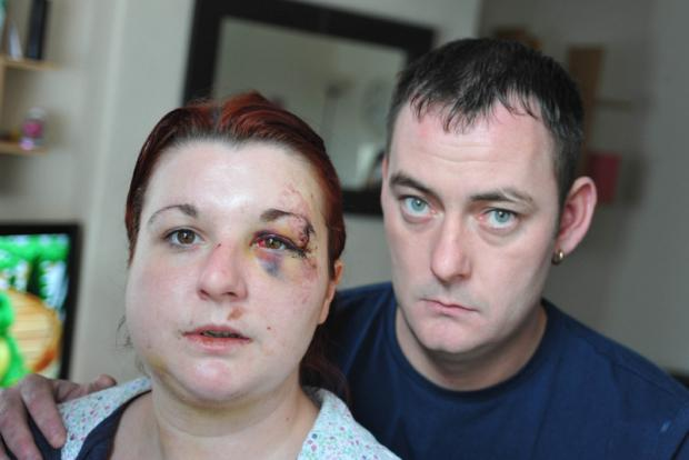 CLUB ATTACK: Gemma Swales and her partner, Paul Briggs