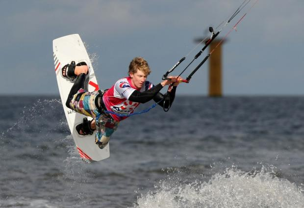 LIFE'S A BREEZE: Action from the finals of the UK Kitesurfing event on the seaffront at Redcar