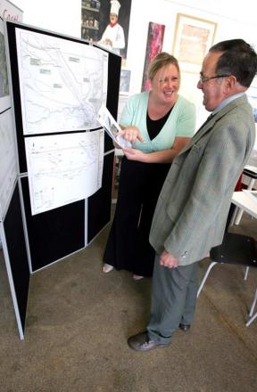 FUTURE VISION: Principal project manager Jeanette Armin discusses the suspension bridge design with Barnard Castle town councillor John Watson