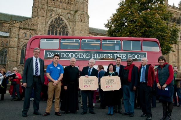Christian Aid's tax justice campaign reaches Durham, and is met by Durham University vice-chancellor Chris Higgins, left, Durham City MP Roberta Blackman-Woods, centre, and Durham County Council leader Simon Henig, fourth right. PHOTO: Charles Martin