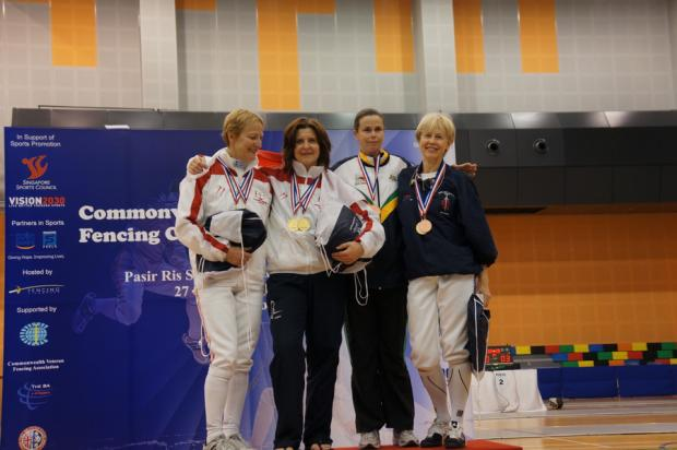 VETERAN WINNERS: Beth Davidson, second left, with her England teammates in Singapore