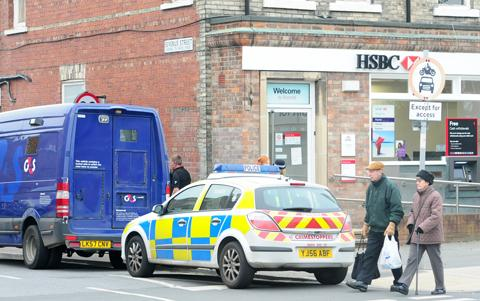 The scene at the HSBC branch in York Road, Acomb