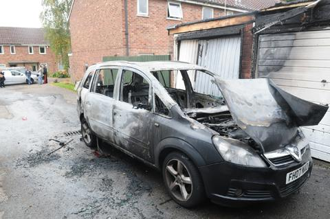 Darlington and Stockton Times: A burnt out car found off Beckfield Lane.