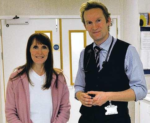SURGERY SUCCESS: Consultant Joel Dunning with his first patient, Sharon McLean