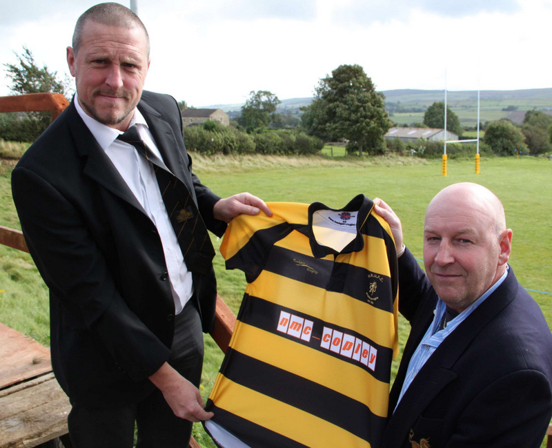 SHIRT: Ian Woodman and club president Bruce Storr show off the Wensleydale RUFC first XV shirts sponsored by NMC Copley of Leyburn