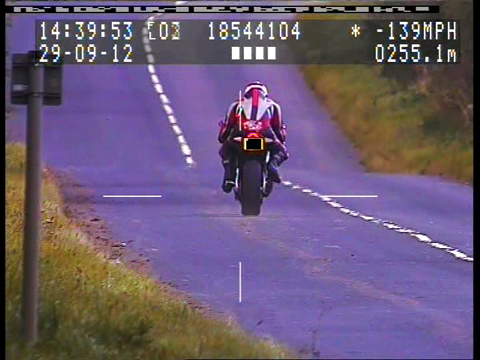 Image of the biker caught on a Police sped camera.