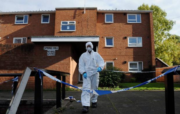 Forensic investigators at the scene of the murder of Pamela Glen