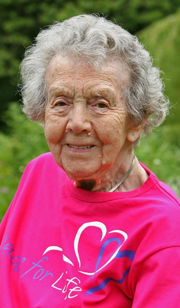 KEPT ACTIVE: Winifred Hudson put her long life down to being active, so much so that when she was 101 and 102 she did the Race for Life for cancer charities