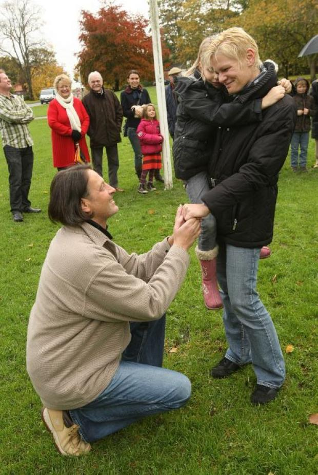 Michi Kroll, who proposed to his partner Barbara Maczejka under the Austrian flag on Hurworth Village green.