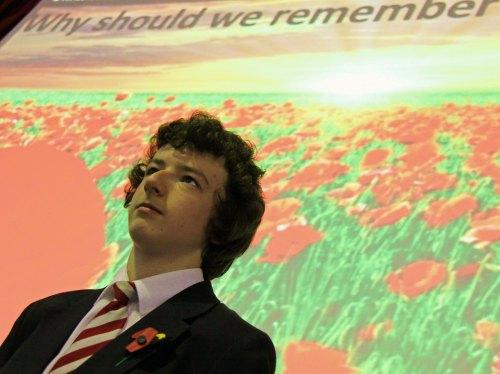 Darlington and Stockton Times: POIGNANT MOMENT: Student Liam Pape, producer of a film marking Remembrance Day in memory of former student, Private John King, who was killed on duty in Afghanistan