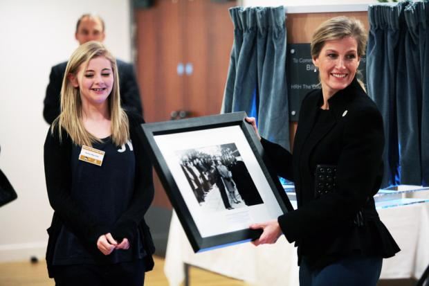 Darlington and Stockton Times: BACK THEN: The Countess is presented with a picture of the Queen opening Billingham Forum by Kelsey Gale, 14